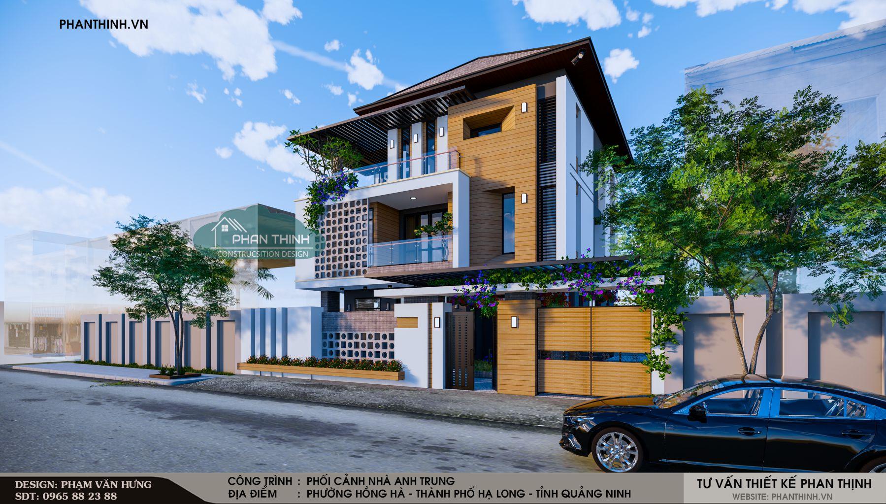 thiết kế nhà biệt thự 3 tầng Quảng Ninh