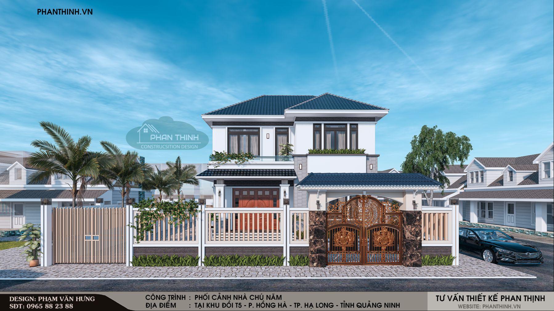Phối cảnh ngôi biệt thự 2 tầng mái thái đẹp năm 2019