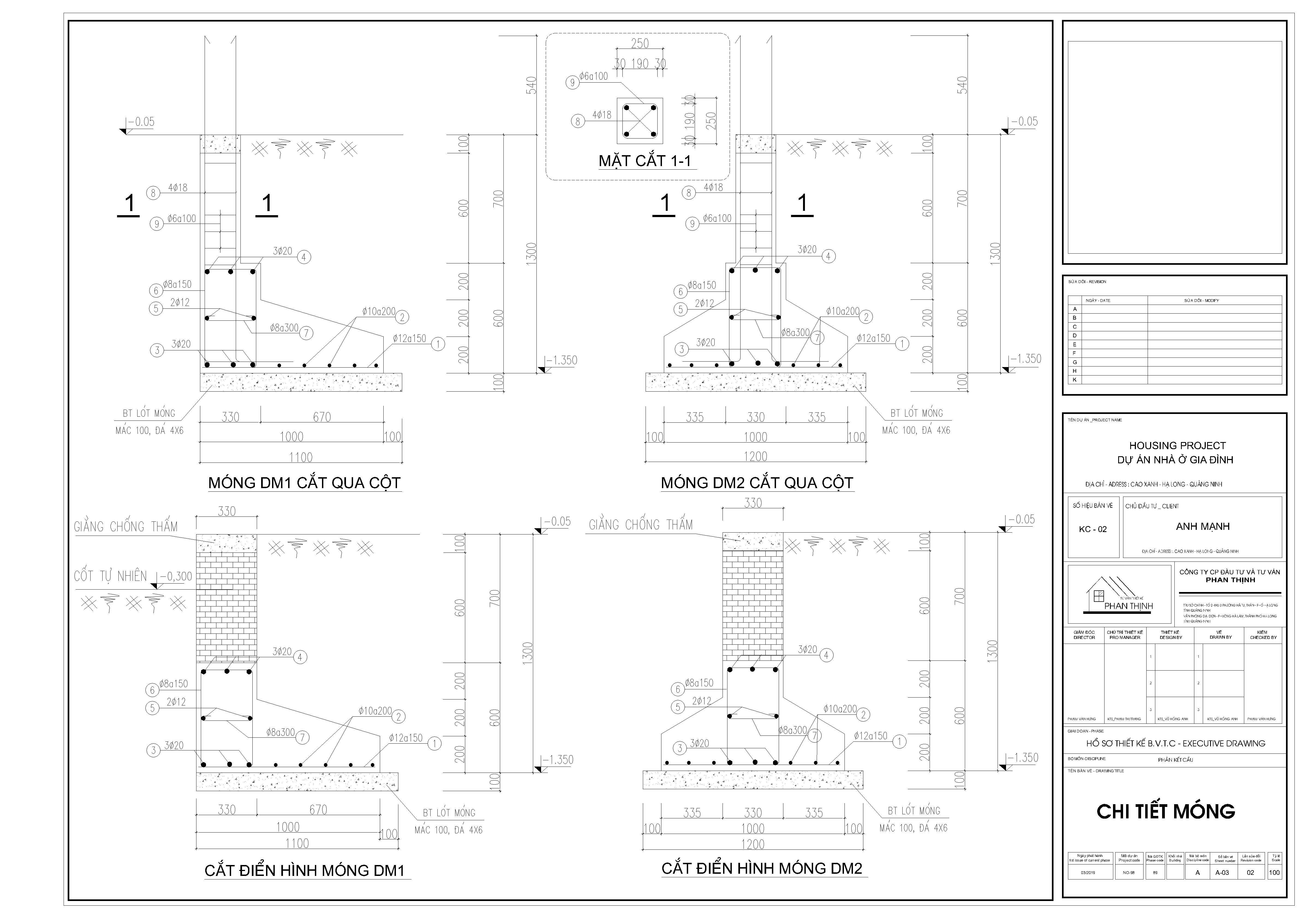 Thiết kế chi tiết móng của căn nhà ống 3 tầng
