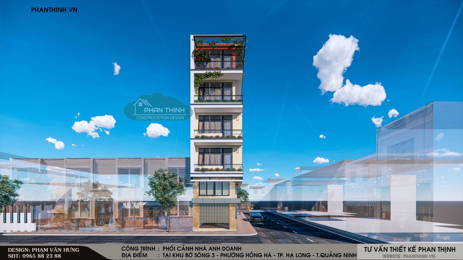 Thiết kế nhà 5 tầng 2 mặt tiền đẹp tại Quảng Ninh