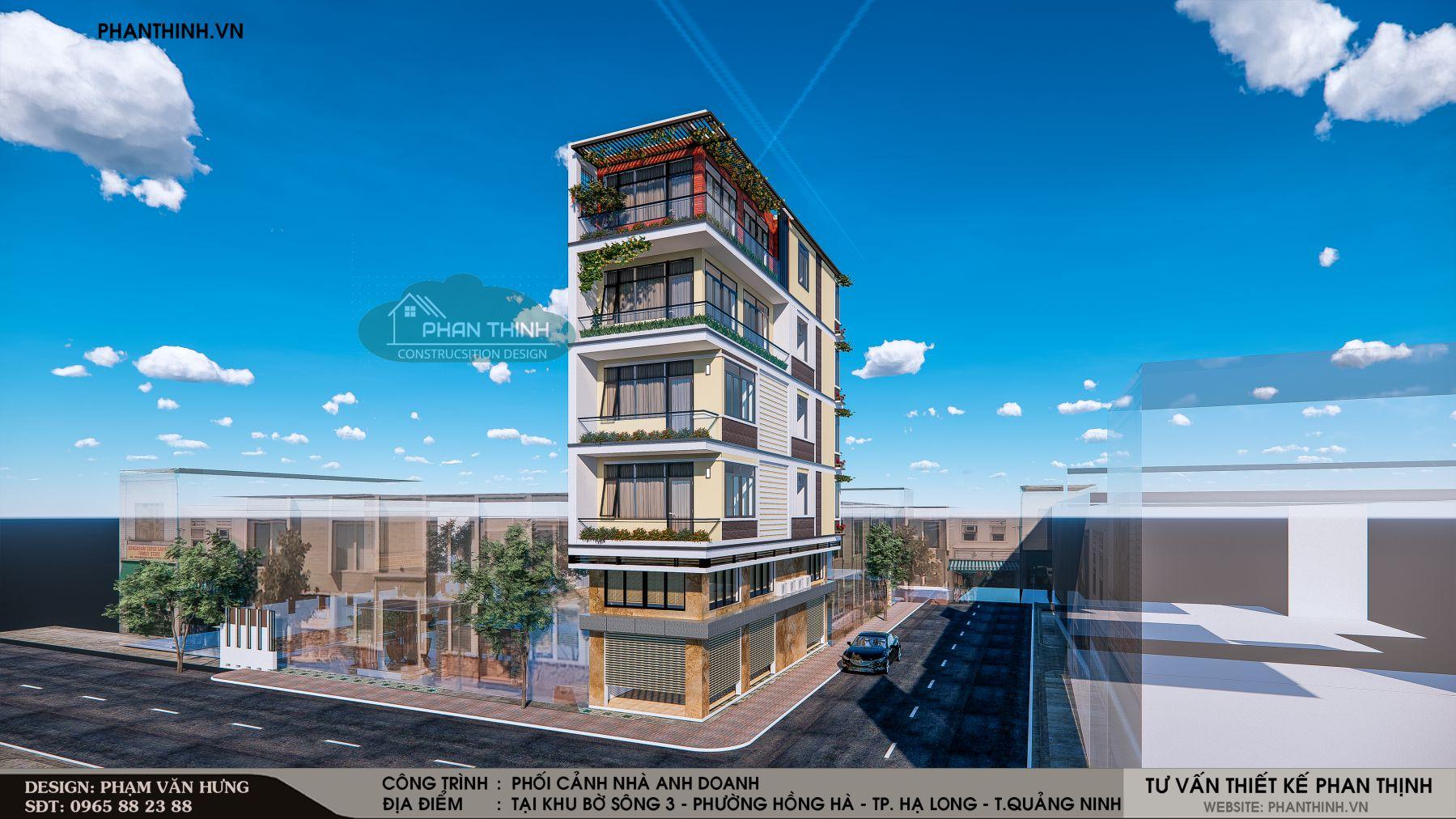 Nhà phố 5 tầng 2 mặt tiền phong cách hiện đại tại Quảng Ninh
