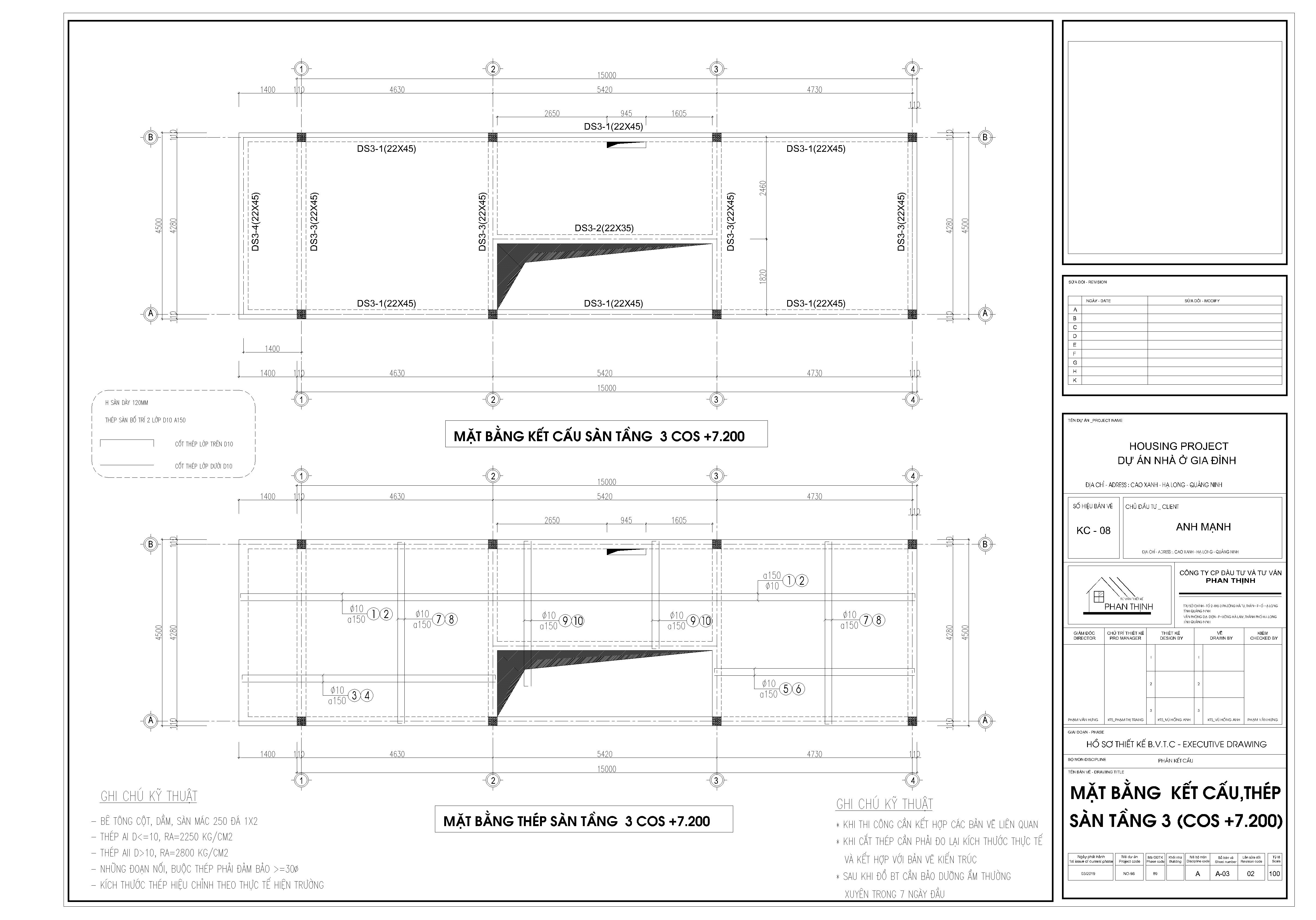 Mặt bằng thiết kế kết cấu dầm sàn tầng 3
