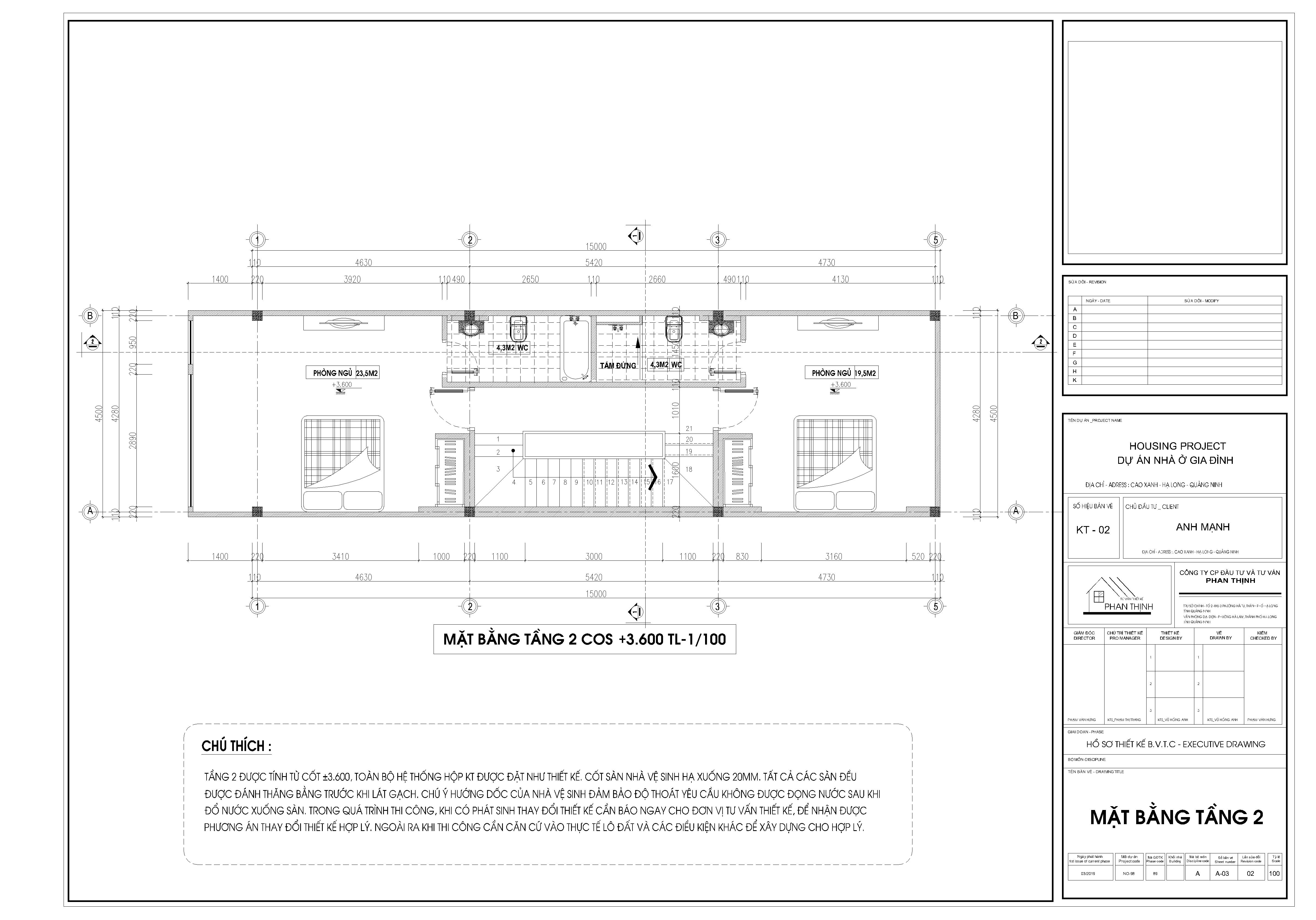 Mặt bằng thiết kế nhà tại tầng 2