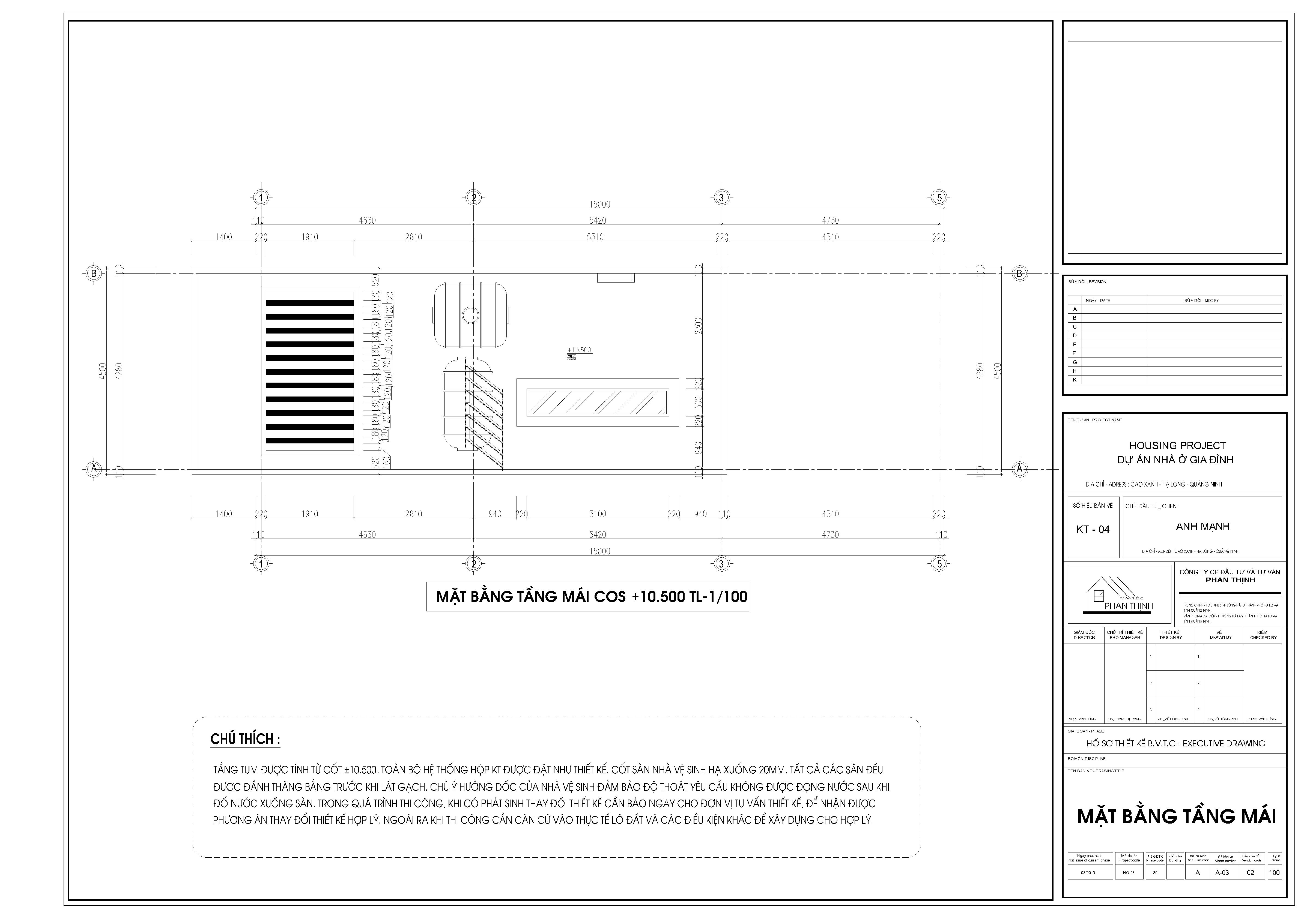 Mặt bằng thiết kế nhà tại tầng mái