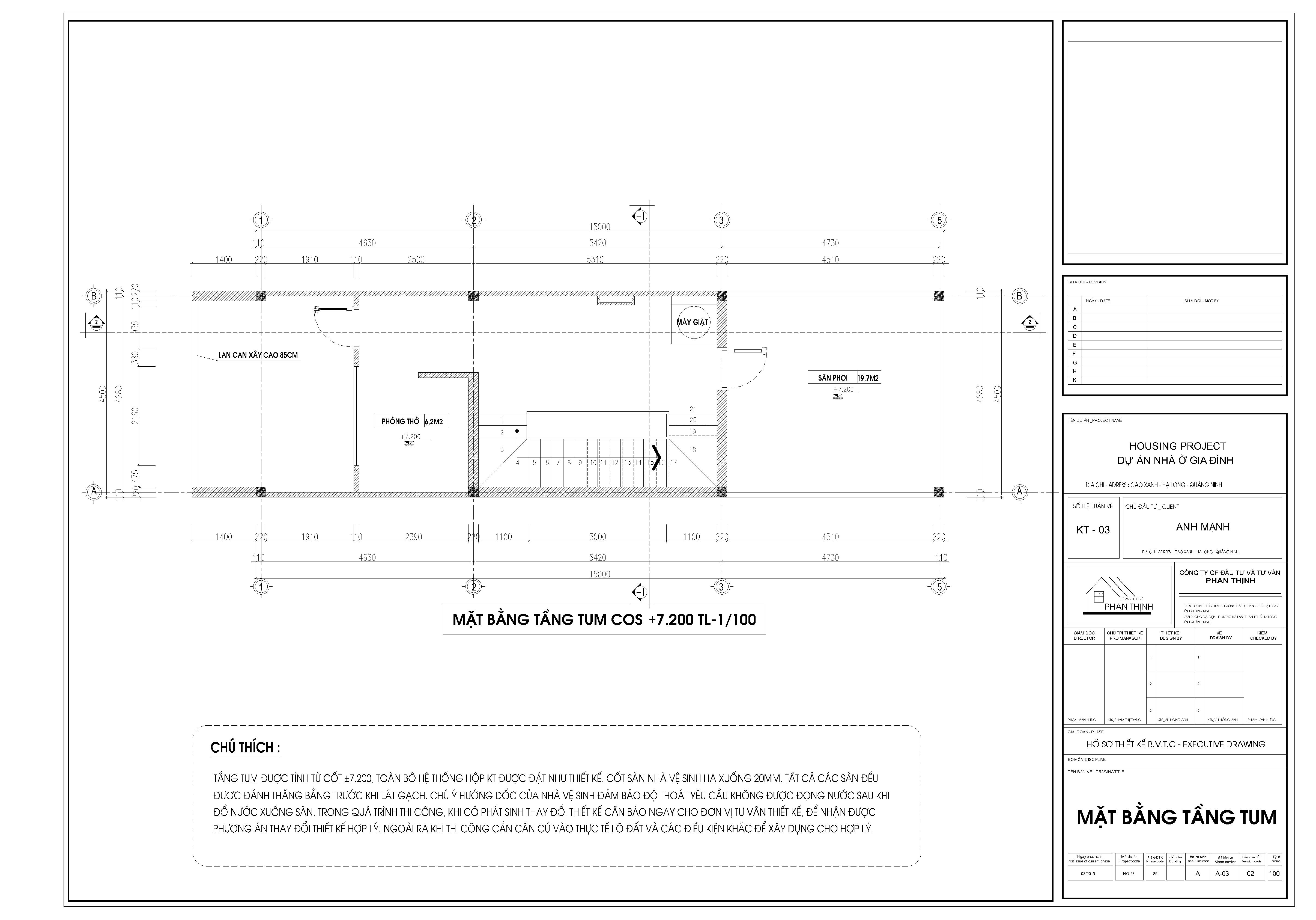 Mặt bằng thiết kế nhà tại tầng tum
