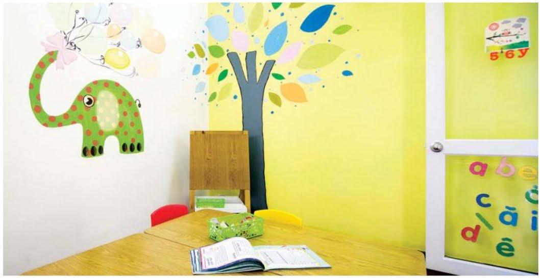 Mảng tường sơn phòng bé