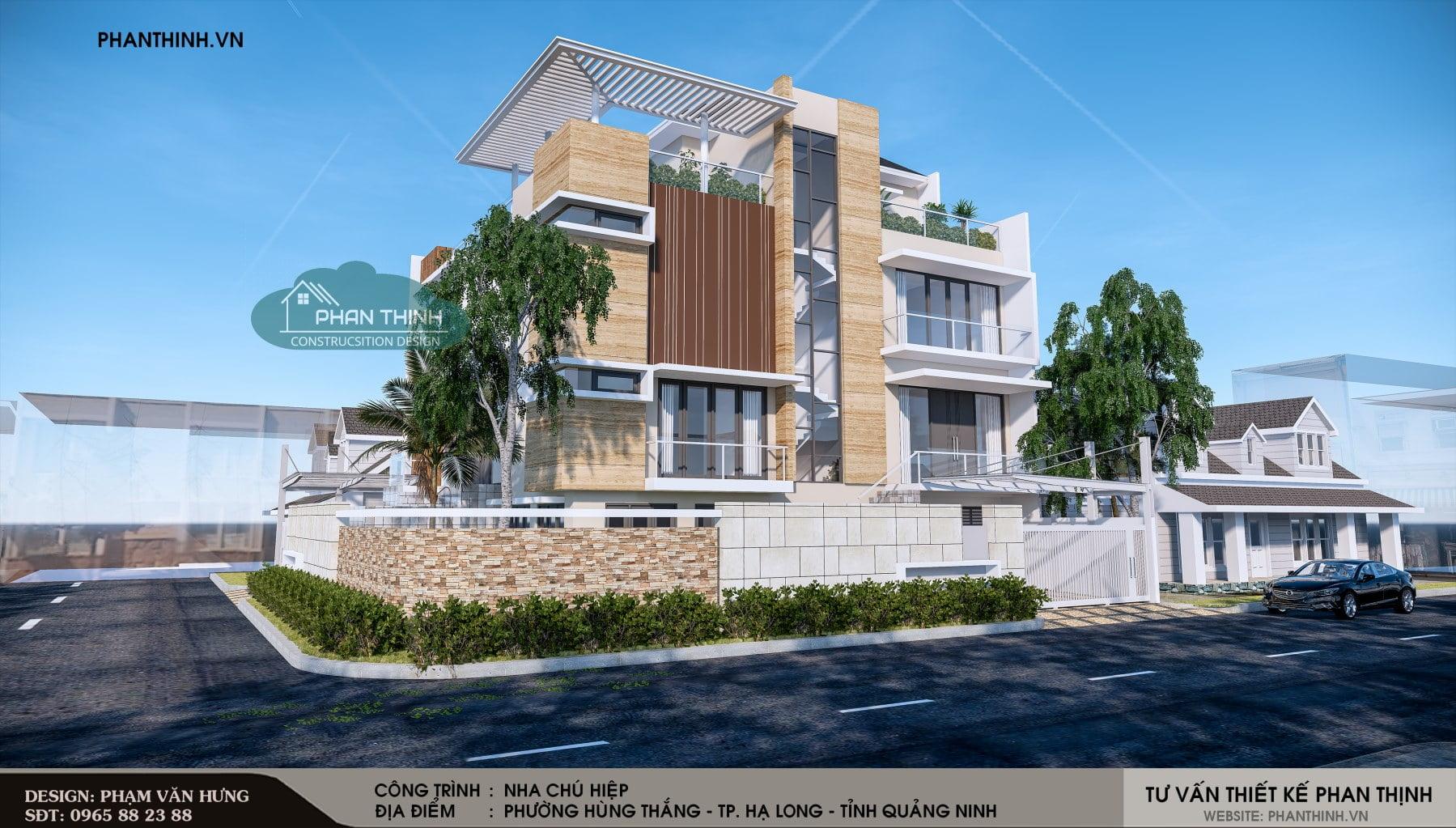 phối cảnh thiết kế biệt thự 4 tầng tại Hạ Long Quảng Ninh