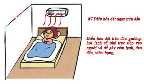 Bố trí giường ngủ ngay dưới điều hòa