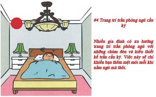 Bố trí đèn trên trần phòng ngủ