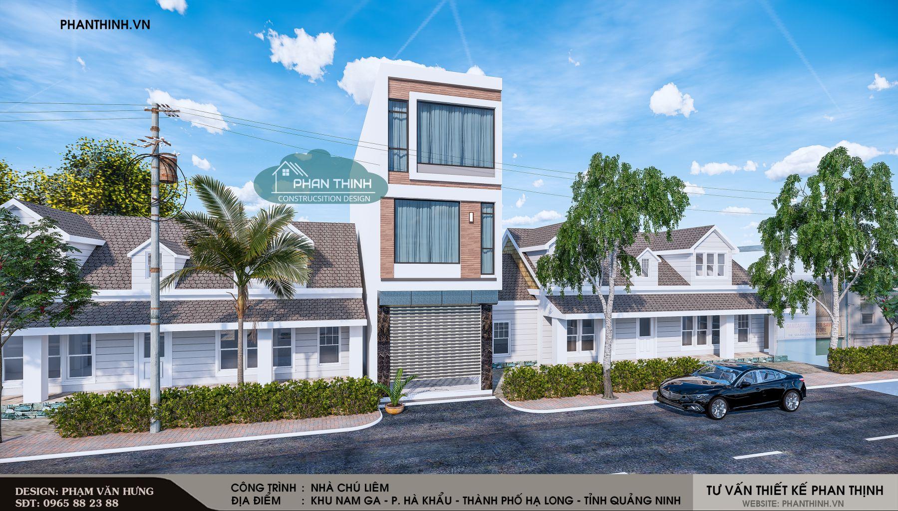 Phương án thiết kế số 01 của căn nhà phố 3 tầng mang phong cách hiện đại.