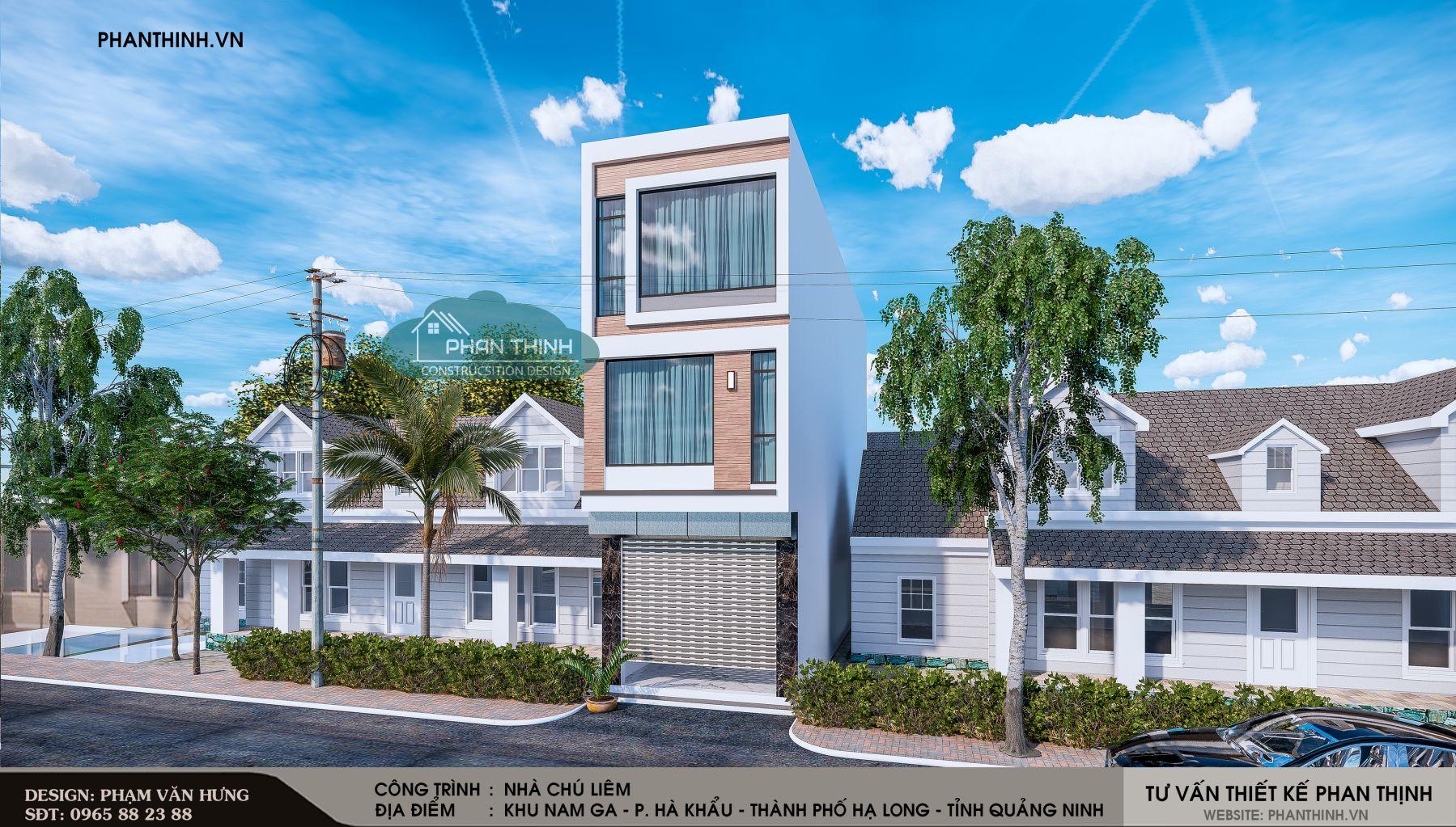 Phương án thiết kế số 01 của căn nhà ống 3 tầng tại Quảng Ninh.