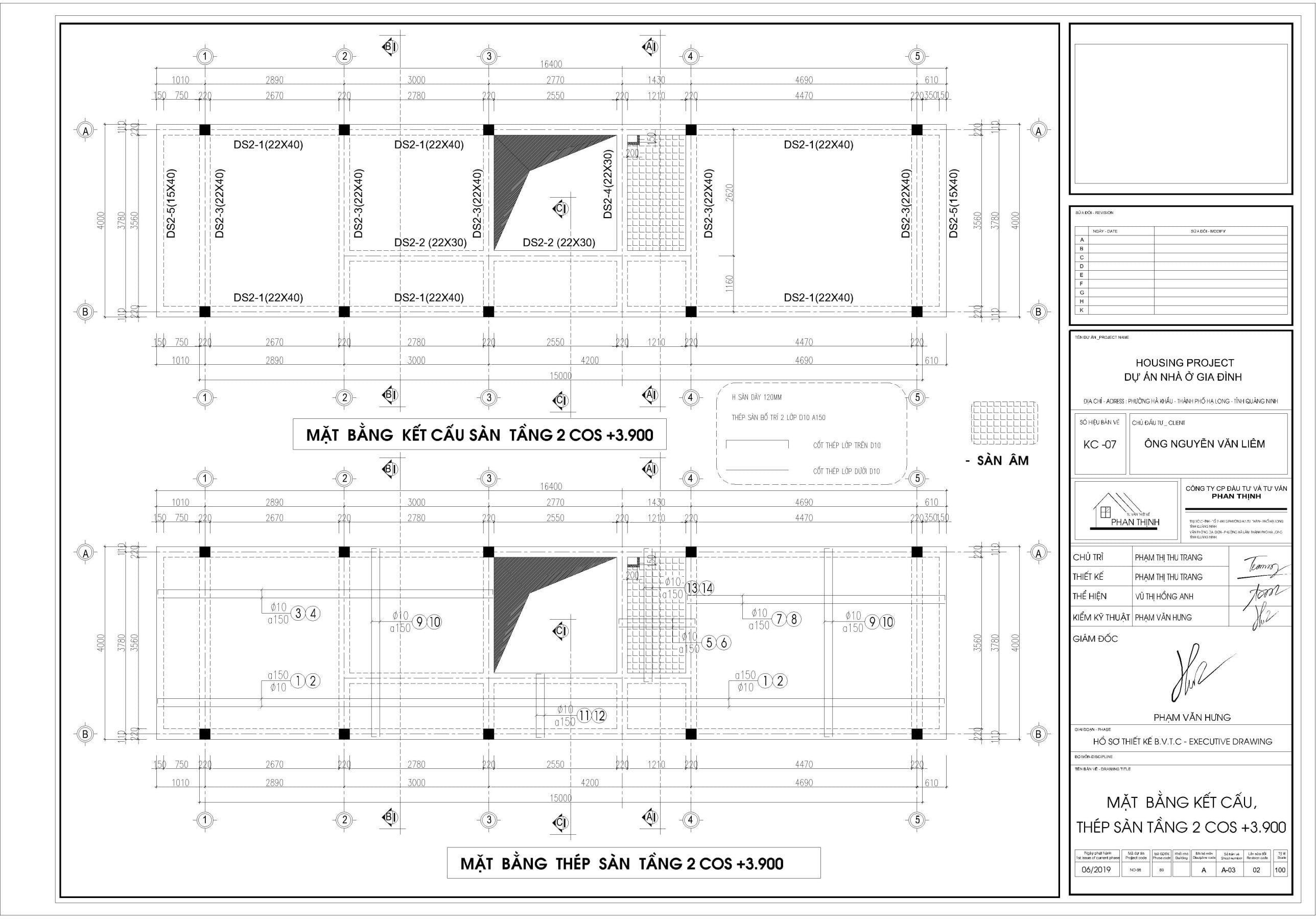 Chi tiết mặt bằng thiết kế dầm sàn tầng 2