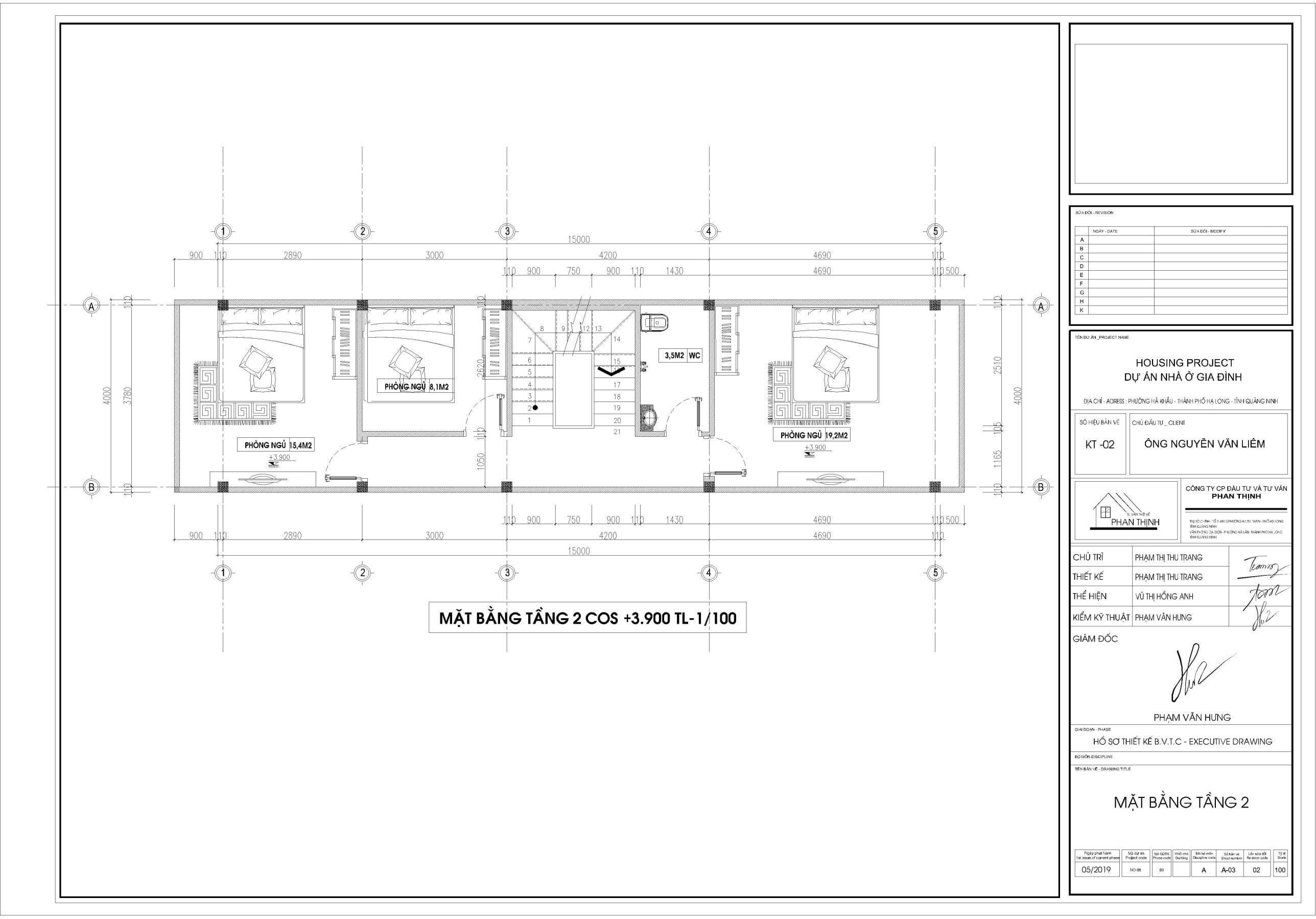 Mặt bằng thiết kế ngôi nhà 3 tầng tại tầng 2.