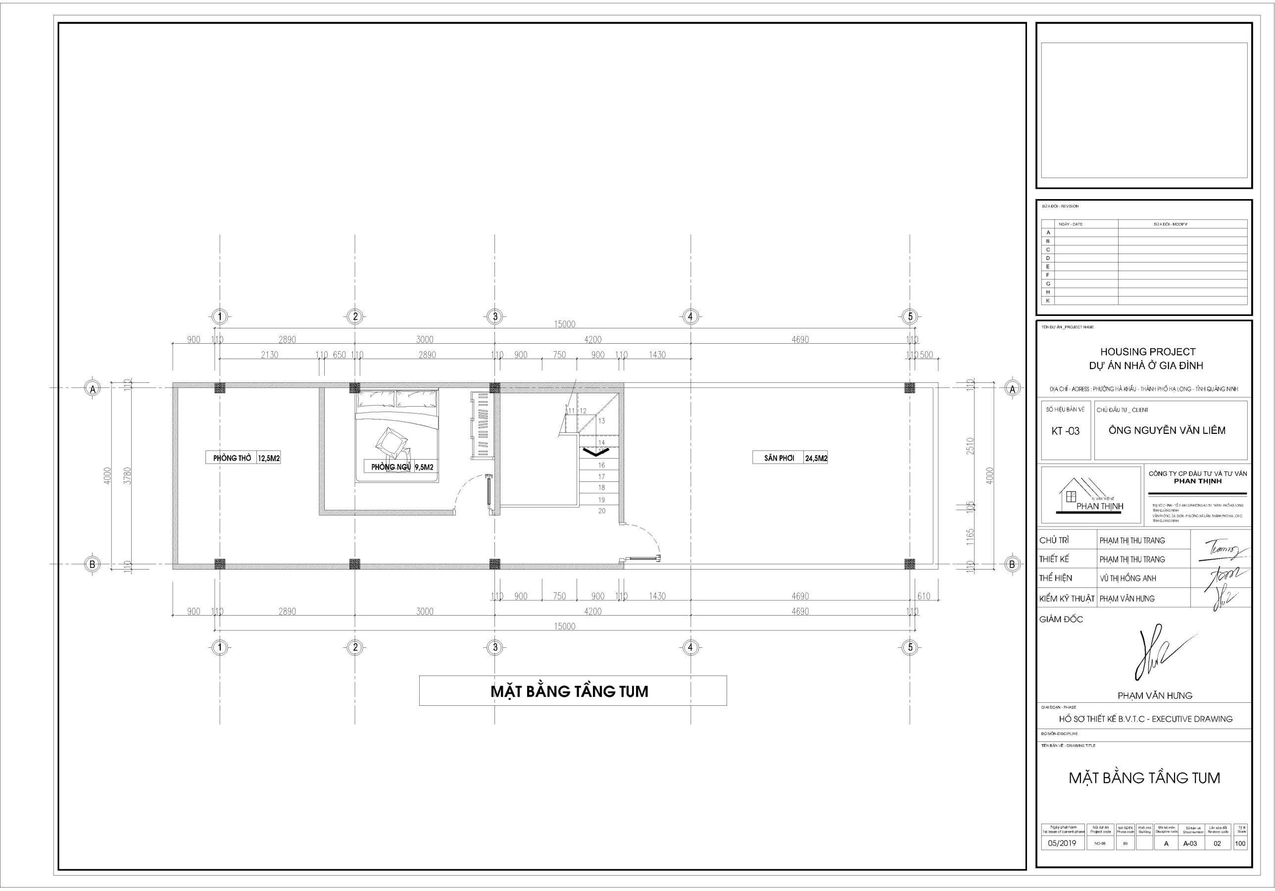 Mặt bằng thiết kế ngôi nhà 3 tầng tại tầng tum.