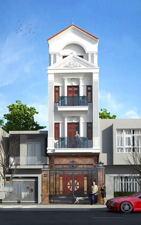Mẫu nhà phố 4 tầng cổ điển đẹp ở Quảng Ninh