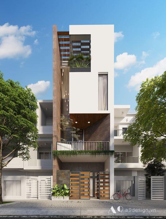 mẫu nhà đẹp hiện đại nhà phố 4 tầng