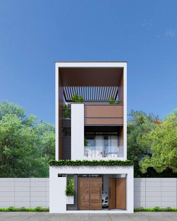 Mẫu nhà ống hiện đại 2 tầng 1 tum ở Quảng Ninh, tư vấn thiết kế nhà tại Quảng Ninh