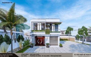 Thiết kế mẫu nhà phố 2 tầng hiện đại đẹp tại Quảng Ninh, nhà anh Tuấn