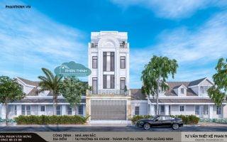 Thiết kế nhà 4 tầng tân cổ điển tại Quảng Ninh, nhà phố 6x15m