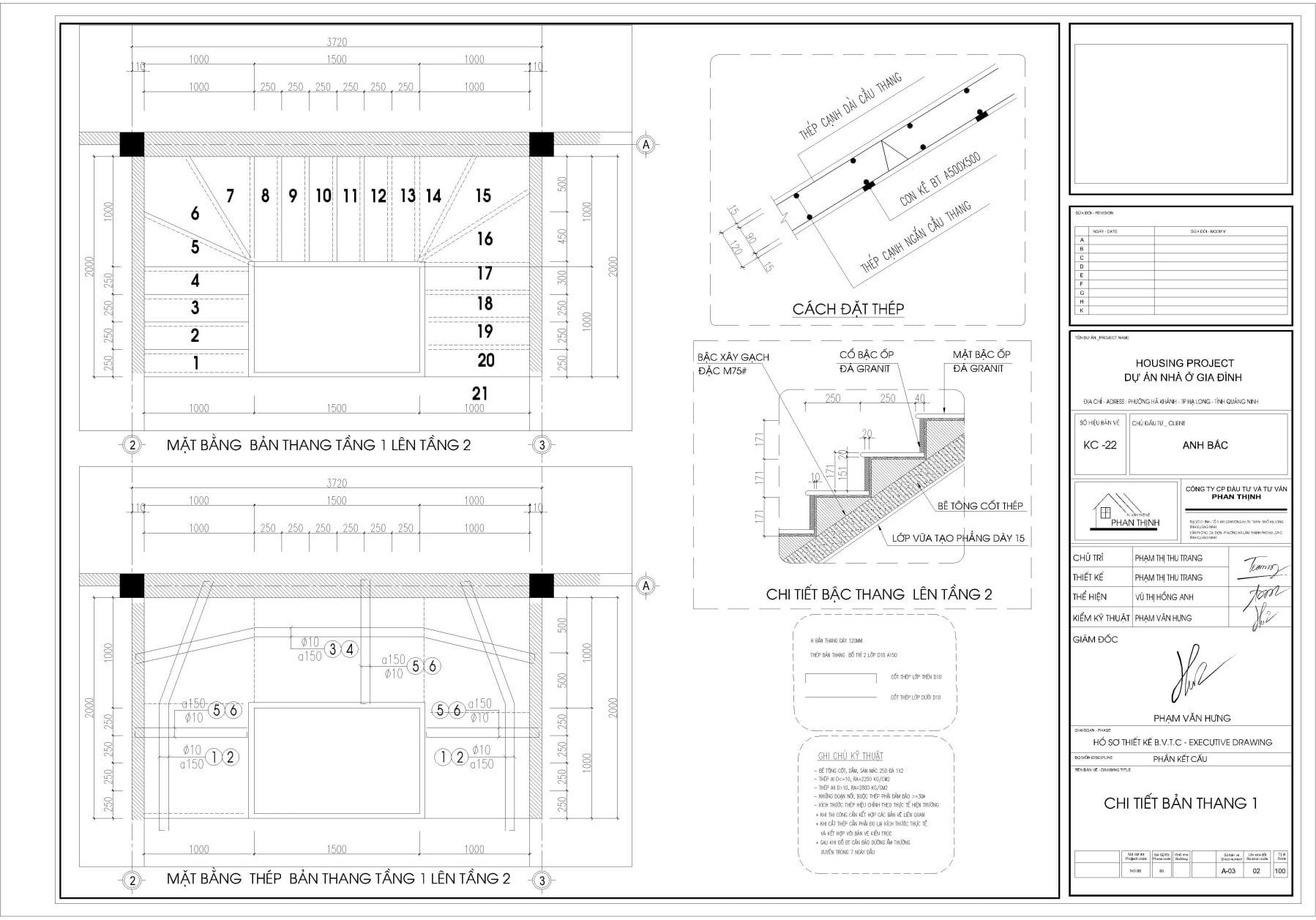 Bản vẽ chi tiết thiết kế cầu thang căn nhà ống tân cổ điển 4 tầng ở Quảng Ninh