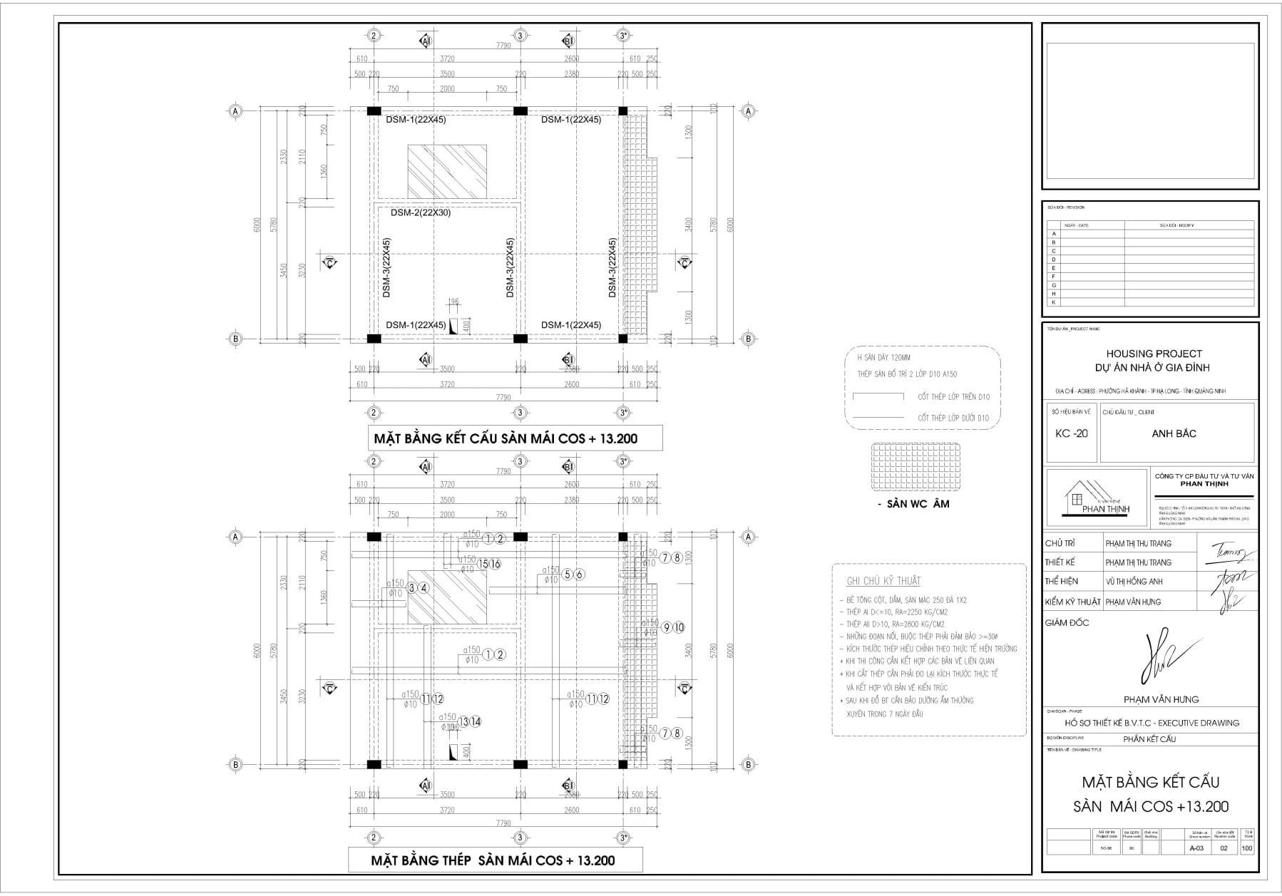 Mặt bằng thiết kế kết cấu dầm sàn tầng mái