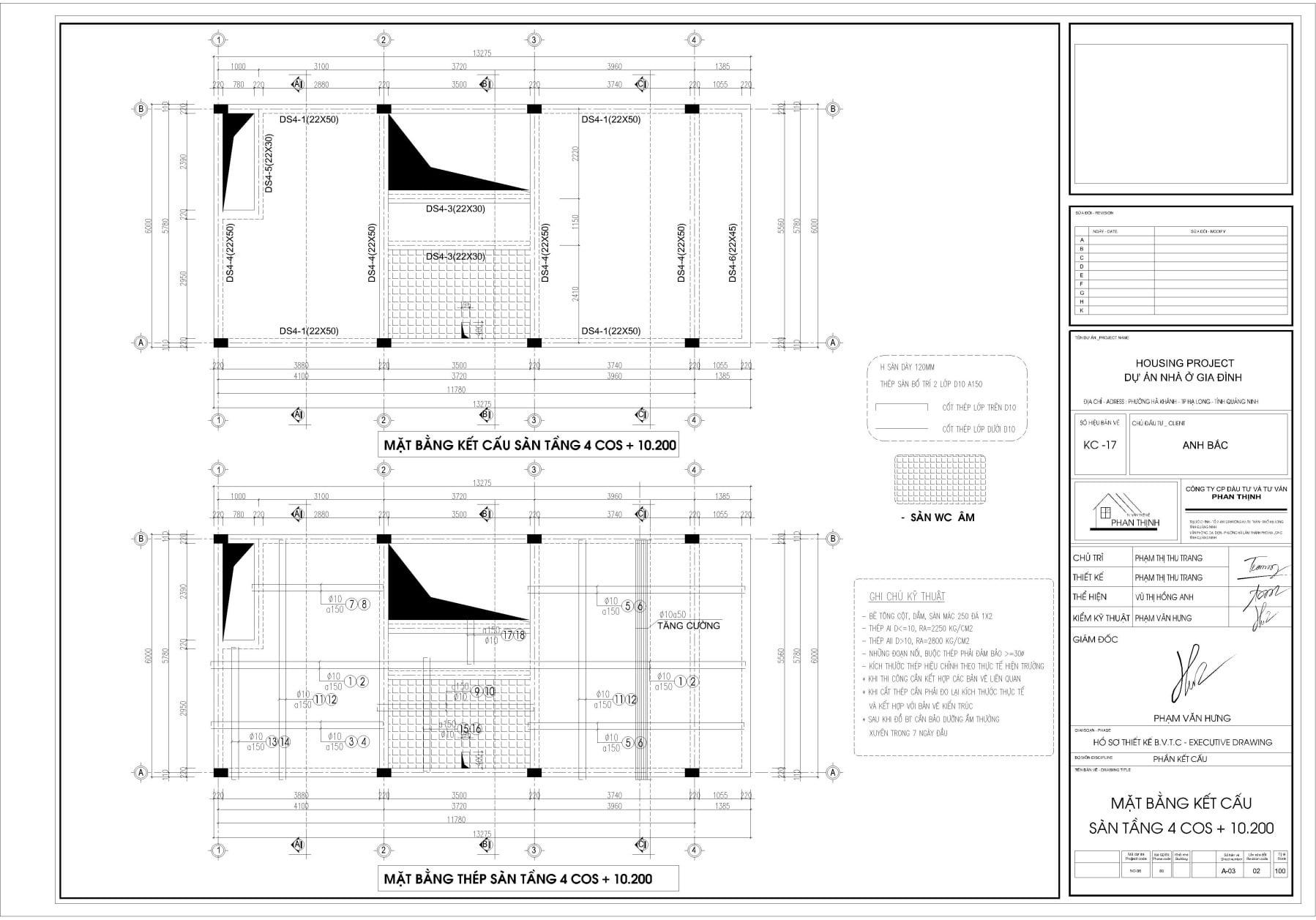 Mặt bằng thiết kế kết cấu dầm sàn tầng 4