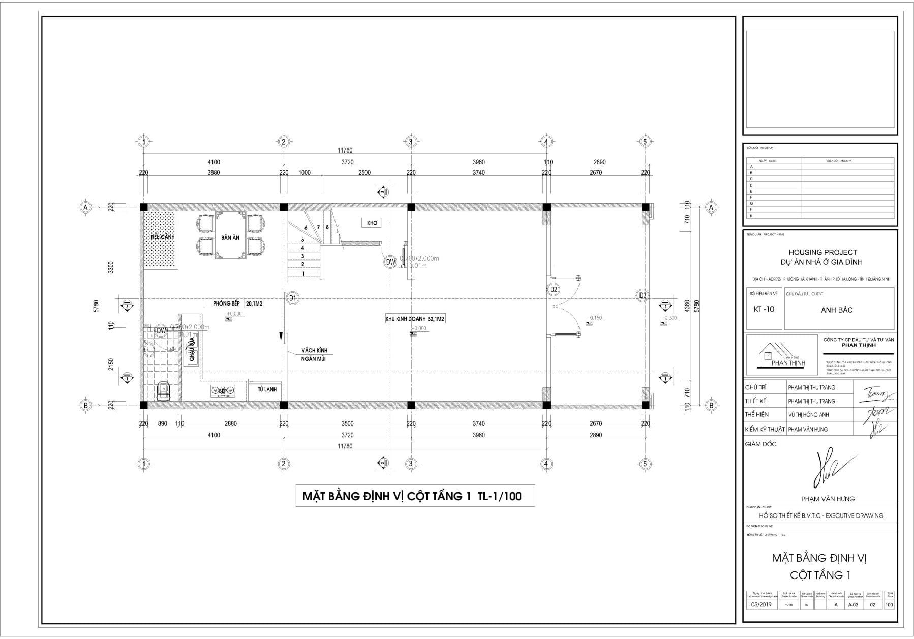 Bản vẽ thiết kế mặt bằng định vị cột cửa tầng 1