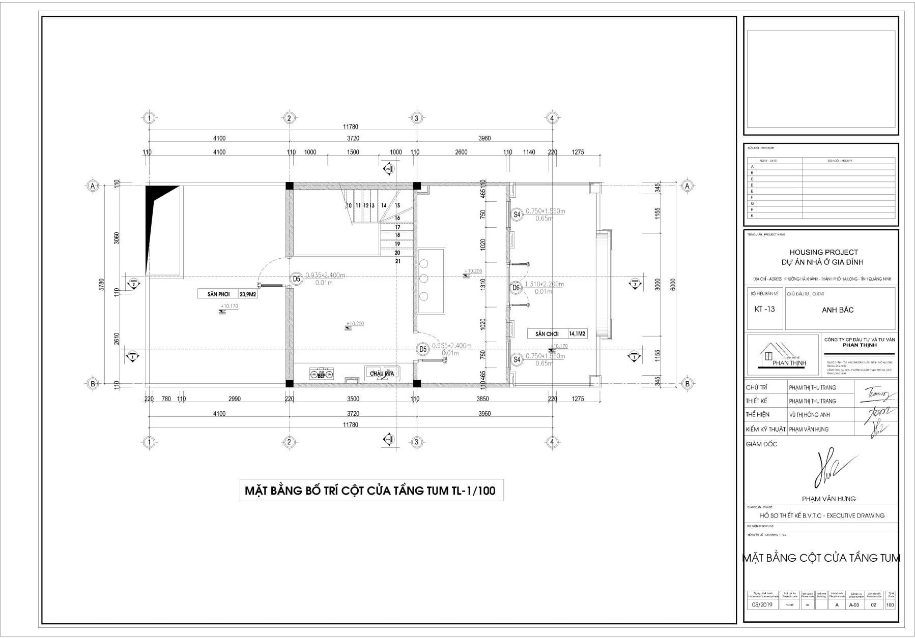 Bản vẽ thiết kế mặt bằng bố trí cột cửa tại tầng tum
