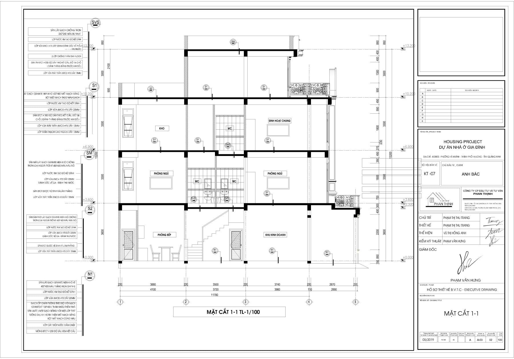Bản vẽ thiết kế mặt cắt 1-1 của căn nhà phố 4 tầng cổ điển