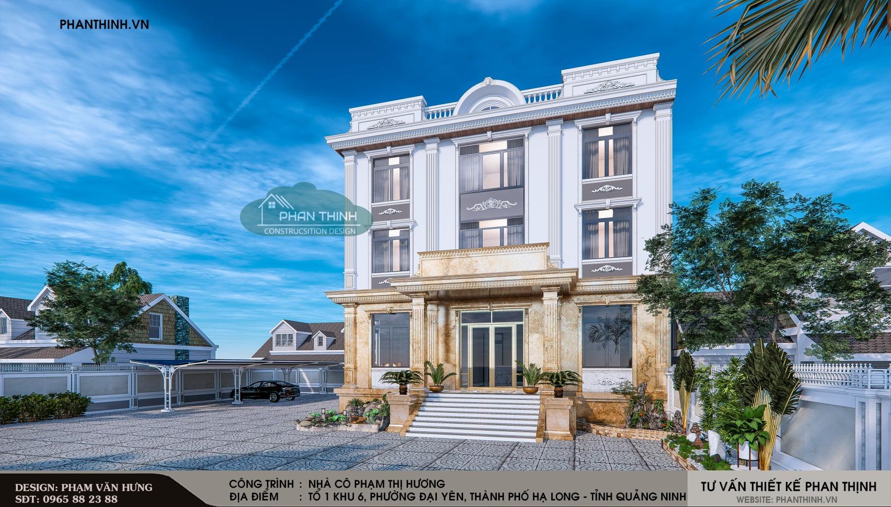 Phối cảnh mặt tiền căn nhà nghỉ 3 tầng mang phong cách tân cổ điển tại Phường Đại Yên, thành phố Hạ Long.