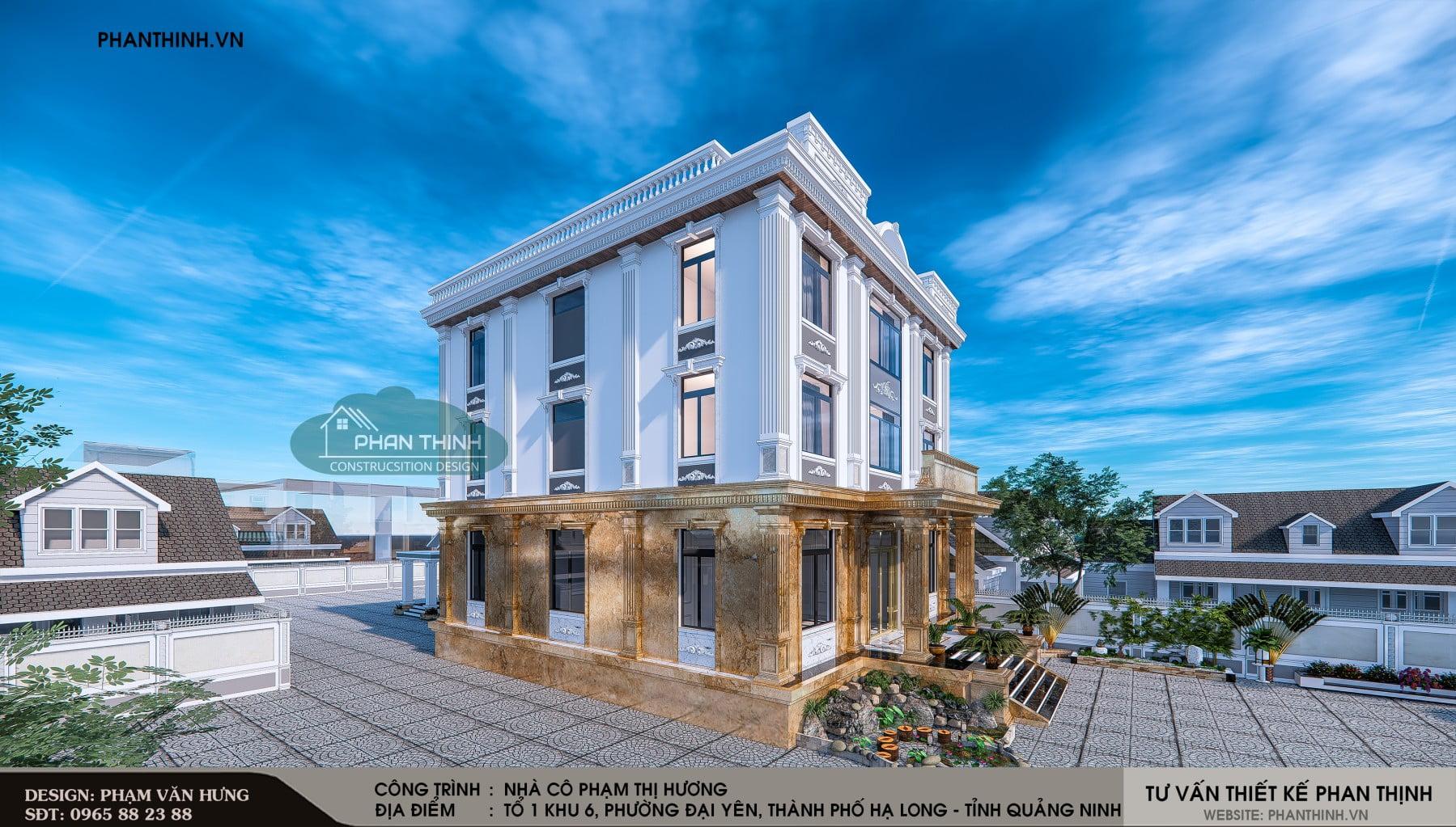 Thiết kế phối cảnh góc căn nhà nghỉ 3 tầng tân cổ điển tại Quảng Ninh