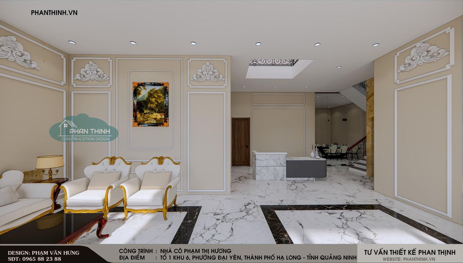 Thiết kế nội thất phía trong khu vực tiếp khách