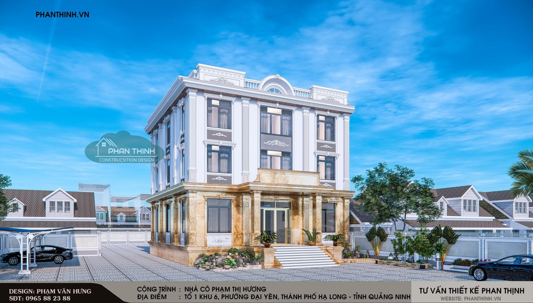 Phương án mặt tiền căn nhà 3 tầng mang tân cổ điển tại Phường Đại Yên, thành phố Hạ Long, tỉnh Quảng Ninh.