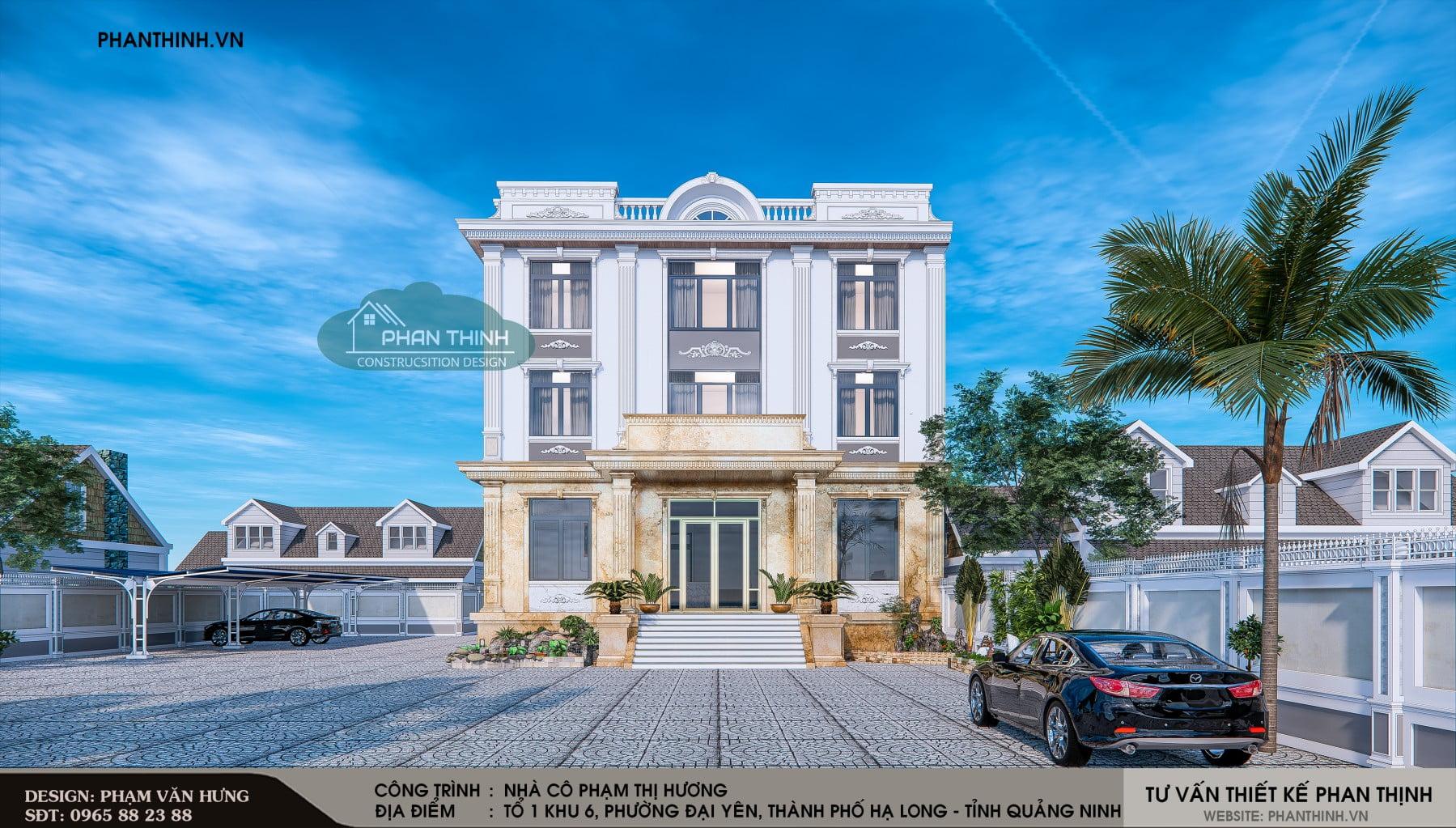 Thiết kế phối cảnh mặt tiền của căn nhà nghỉ 3 tầng mang phong cách tân cổ điển.