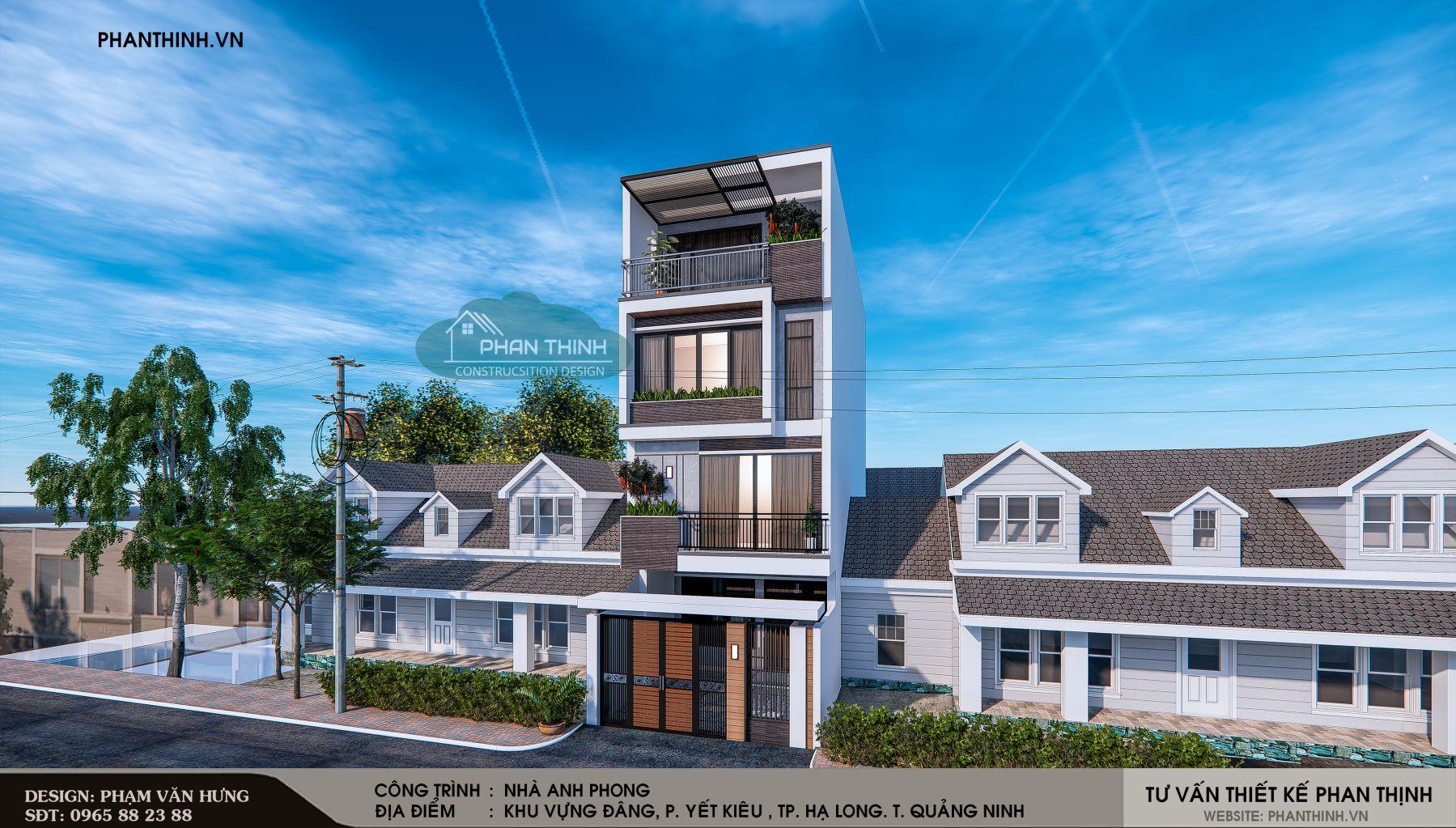 Thiết kế phối cảnh mặt tiền phương án 1 căn nhà ống 4 tầng đẹp tại Quảng Ninh góc số 1.