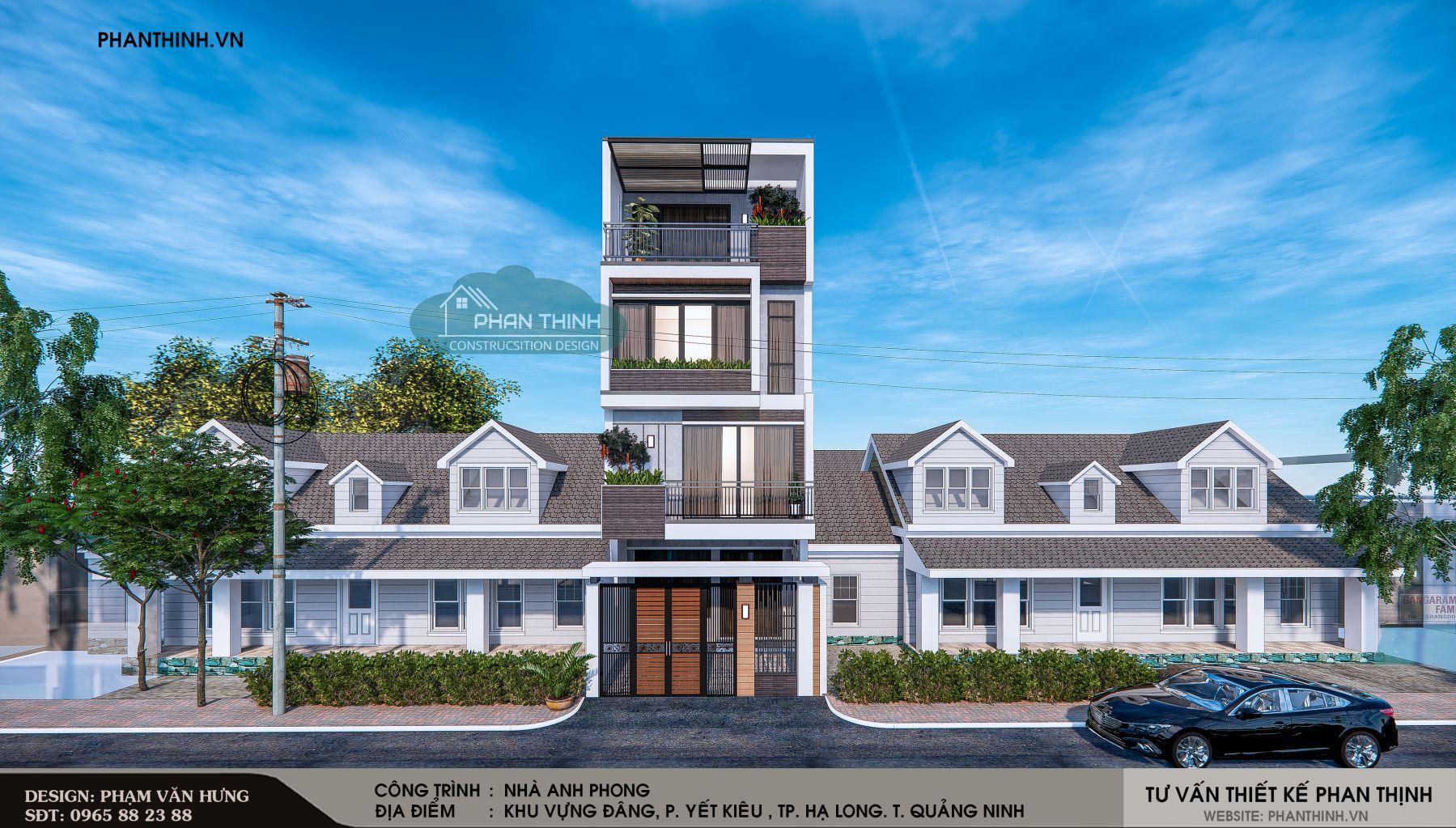 Thiết kế mặt tiền phương án 1 căn nhà ống 4 tầng đẹp tại Quảng Ninh.