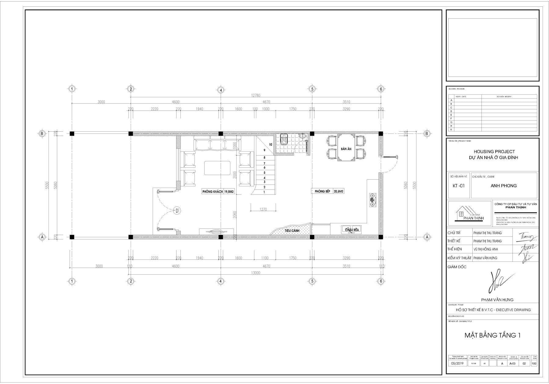 Thiết kế mặt bằng nhà tại tầng 1.