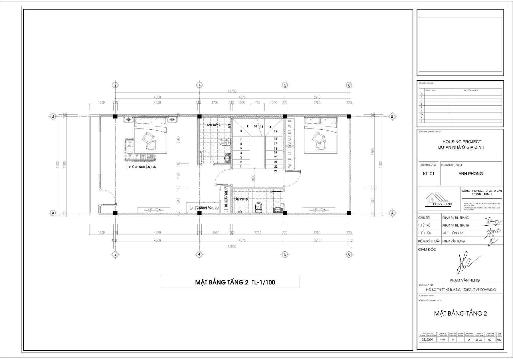 Thiết kế mặt bằng nhà tại tầng 2.