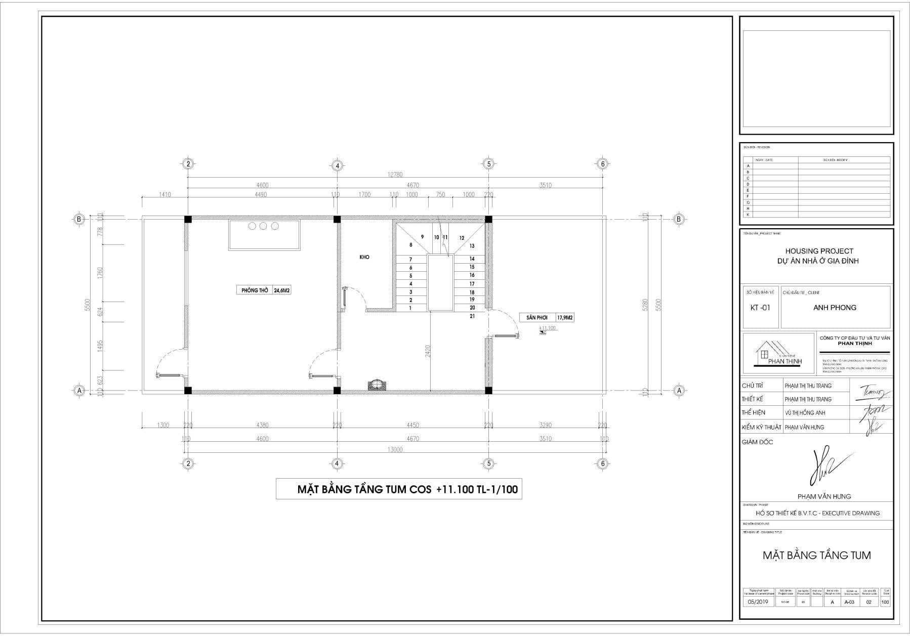 Thiết kế mặt bằng nhà tại tầng tum.