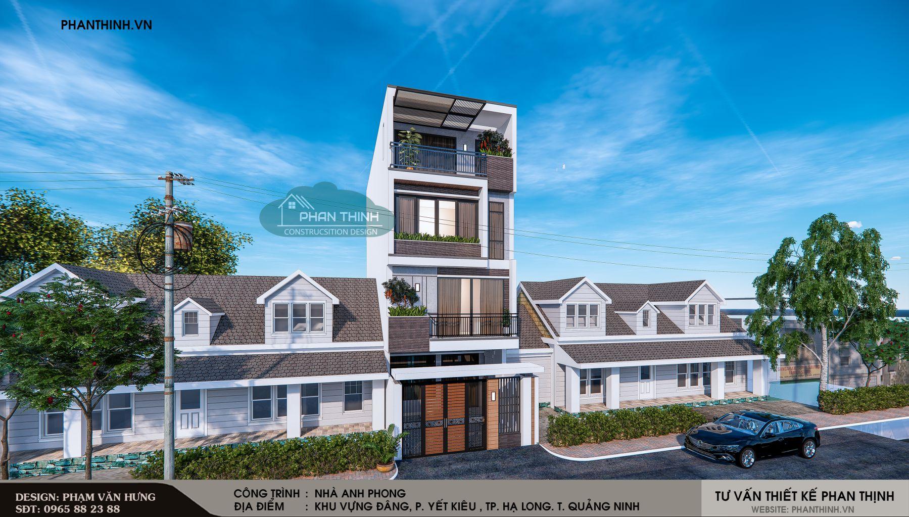 Thiết kế phối cảnh mặt tiền phương án 1 căn nhà ống 4 tầng đẹp tại Quảng Ninh góc số 2.