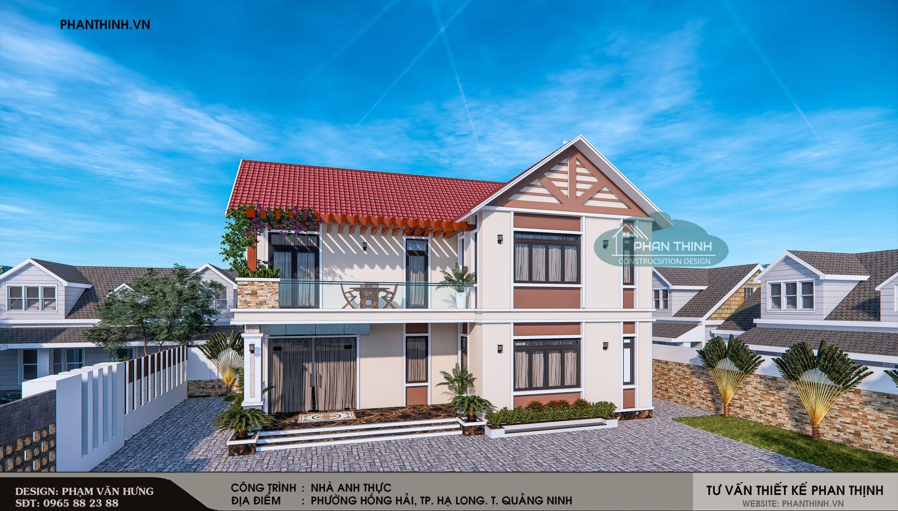 Phối cảnh thiết kế biệt thự 2 tầng tại Quảng Ninh