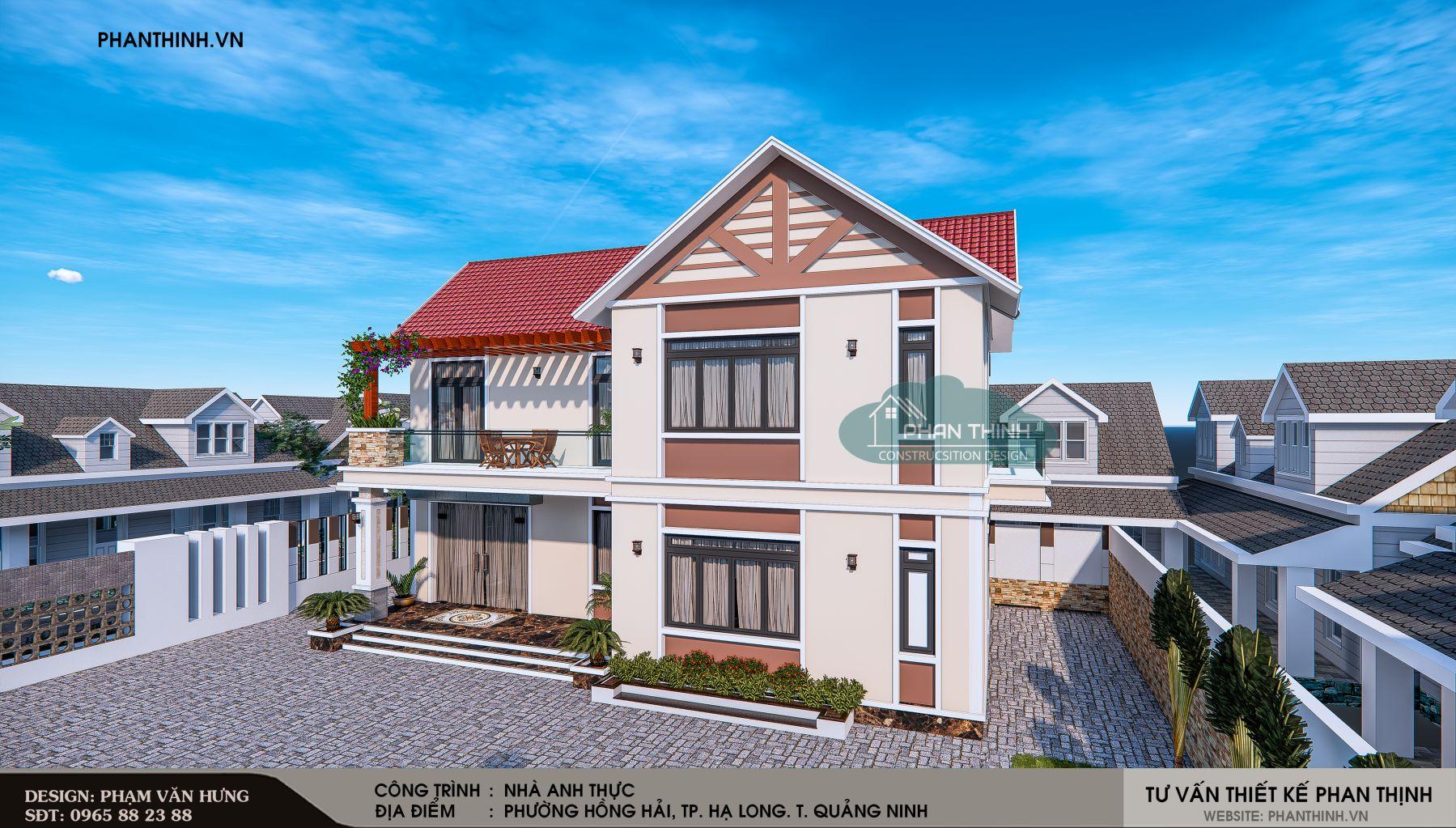 Thiết kế phối cảnh nhà mái thái 2 tầng đẹp tại Quảng Ninh