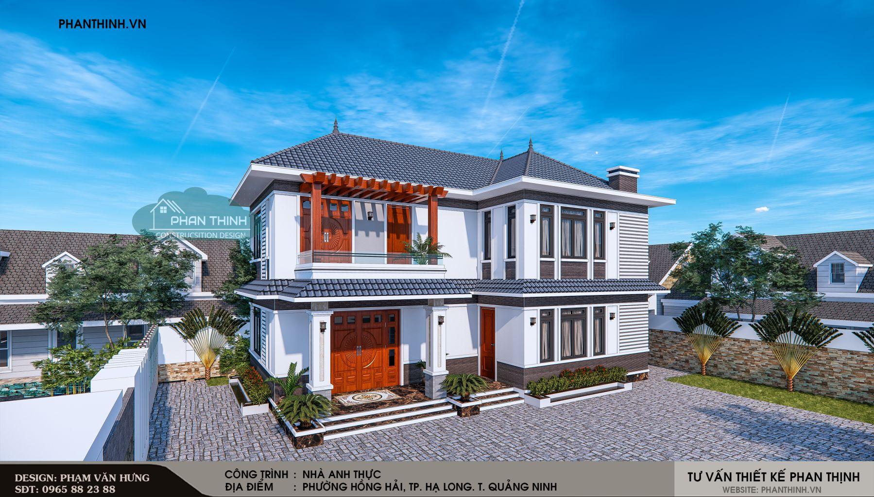 góc phối cảnh mặt tiền nhà mái thái 2 tầng