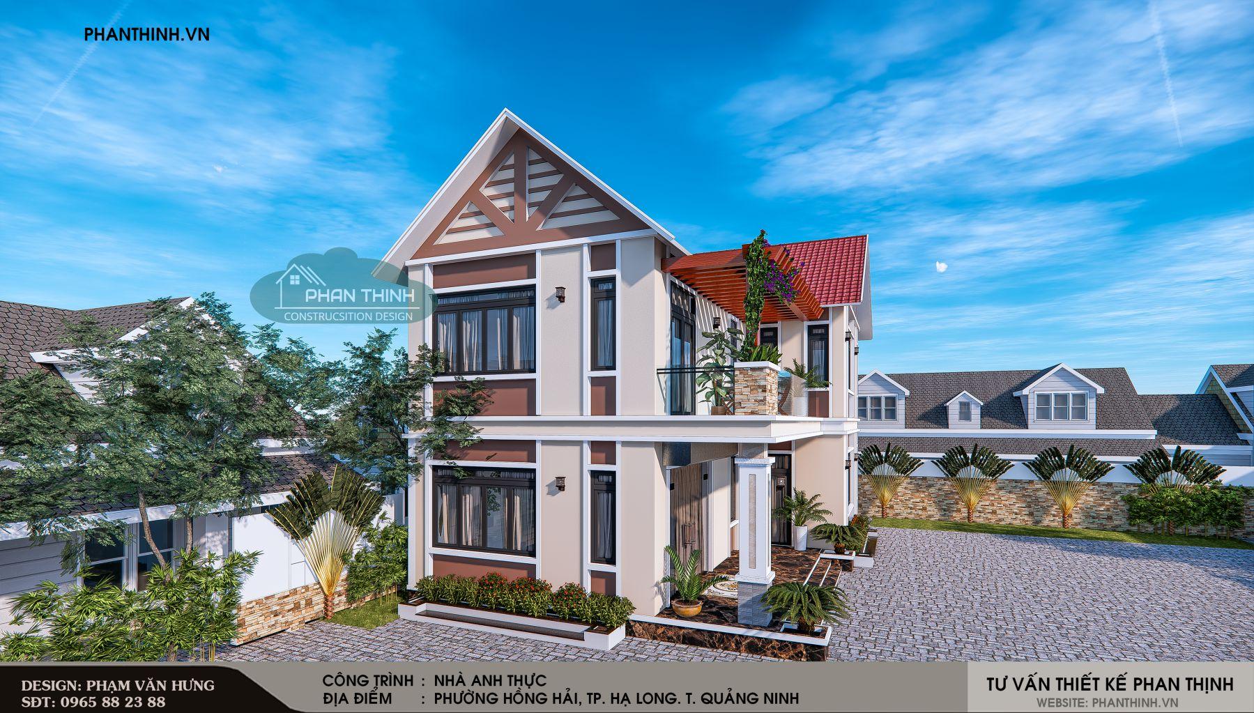 Thiết kế phối cảnh nhà mái thái 2 tầng tại Quảng Ninh