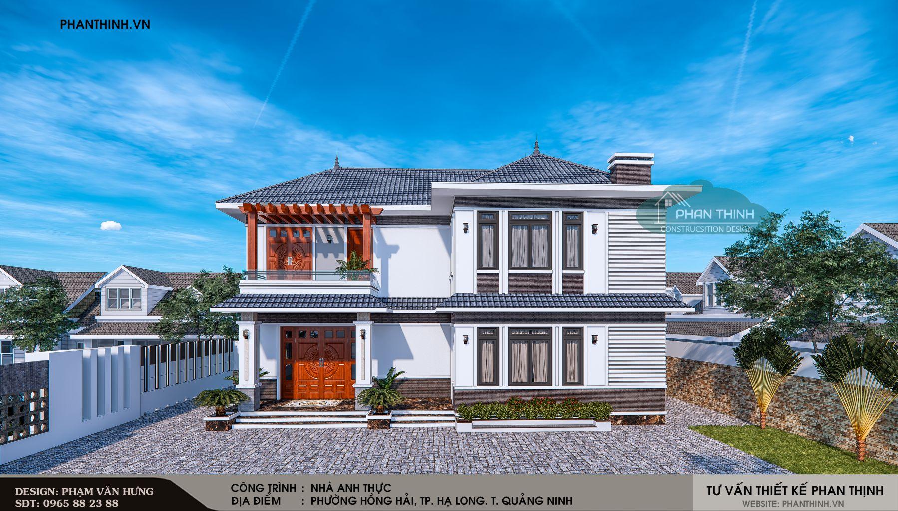 Phối cảnh nhà mái thái 2 tầng