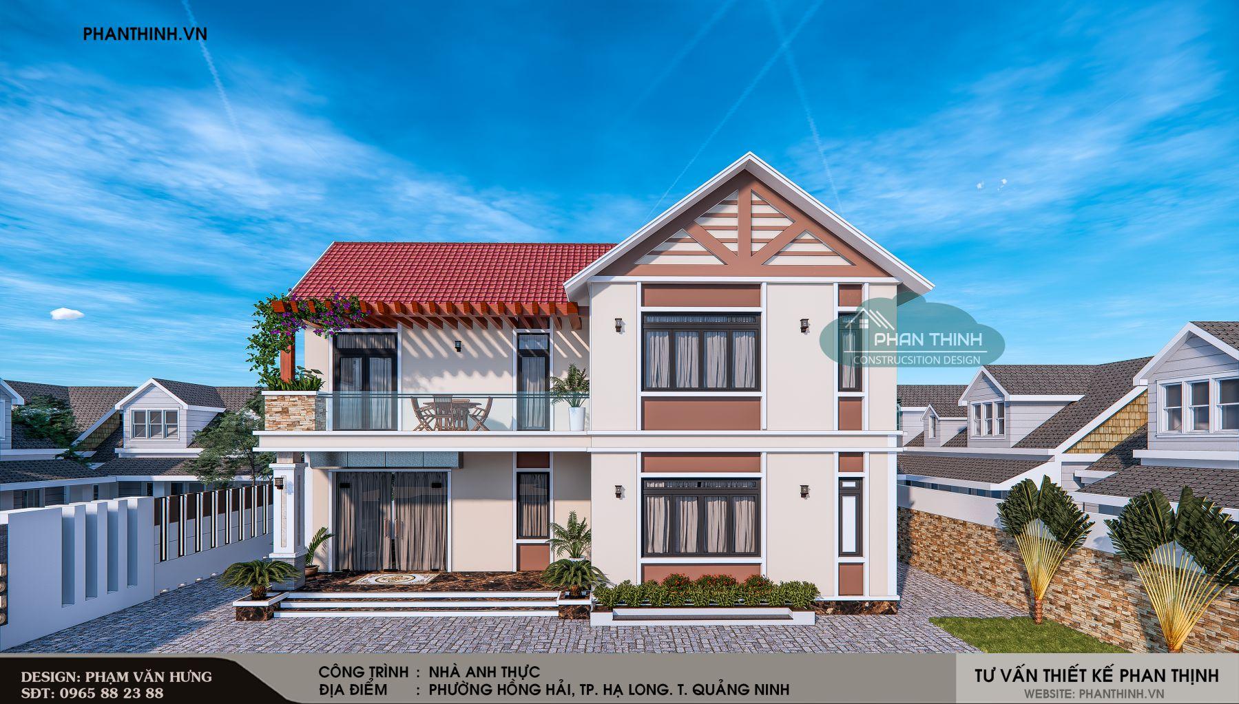 Thiết kế mặt tiền căn mái thái 2 tầng tại Quảng Ninh