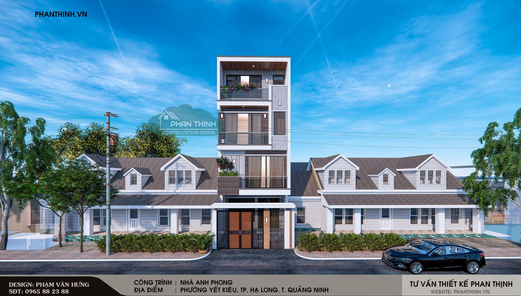 Thiết kế phối cảnh mặt tiền căn nhà phố 4 tầng đẹp tại phường Yết Kiêu tỉnh Quảng Ninh.