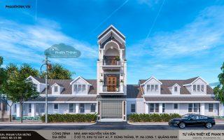 Thiết kế nhà phố 3 tầng mái thái tại P. Hùng Thắng, Hạ Long, Quảng Ninh