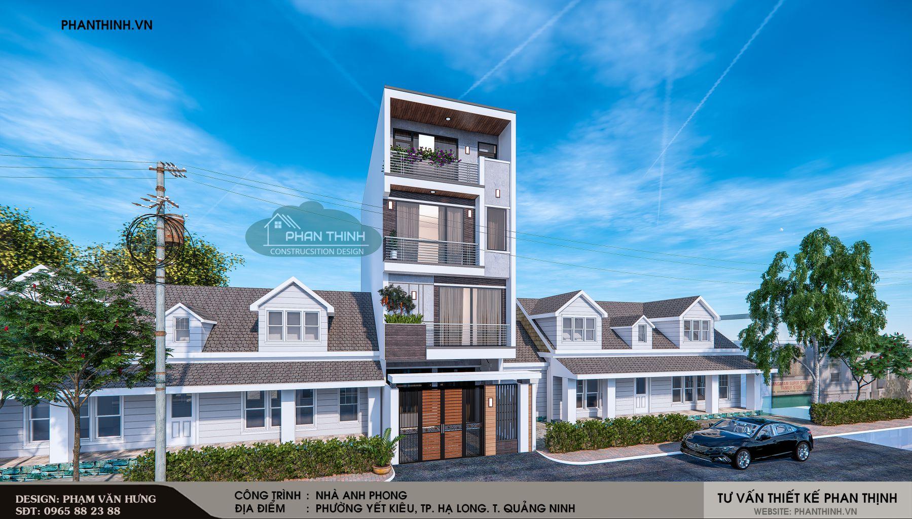 Thiết kế phối cảnh góc căn nhà tại Quảng Ninh.