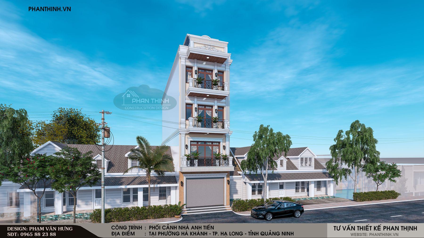 Thiết kế xây dựng phối cảnh mặt tiền nhà 4 tầng